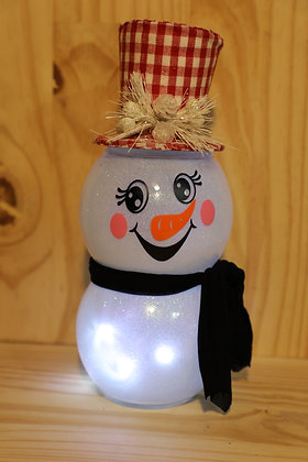 Lighted Snowman red plaid hat