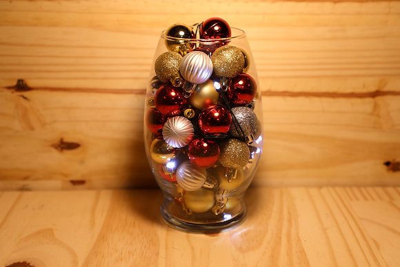 Glass Vase with Lights and Colored Bulb's