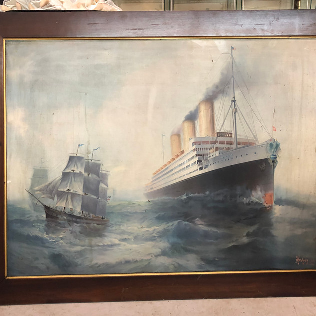 "Stunning Tin Lithograph 1911 by A F Bishop 30""x38"""