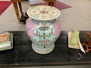 19th century Famile Rose garden stool