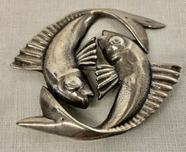 Sterling silver yin yang fish pin