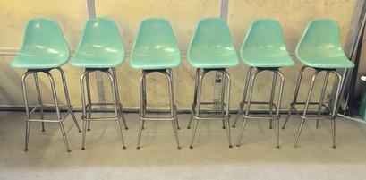 6 Vintage Mid-Century Fiberglass stools.