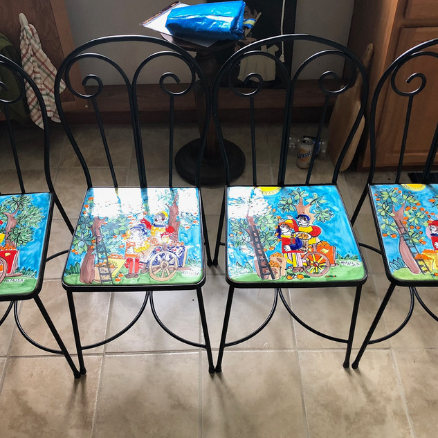 hand painted tile seat chairs