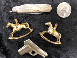 Sterling knife & small toys