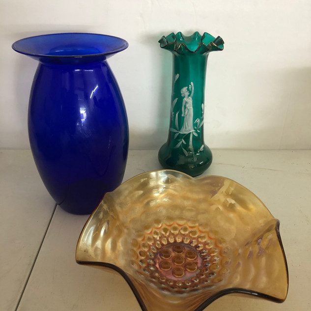 Mary Gregory, Carnival Glass & cobalt