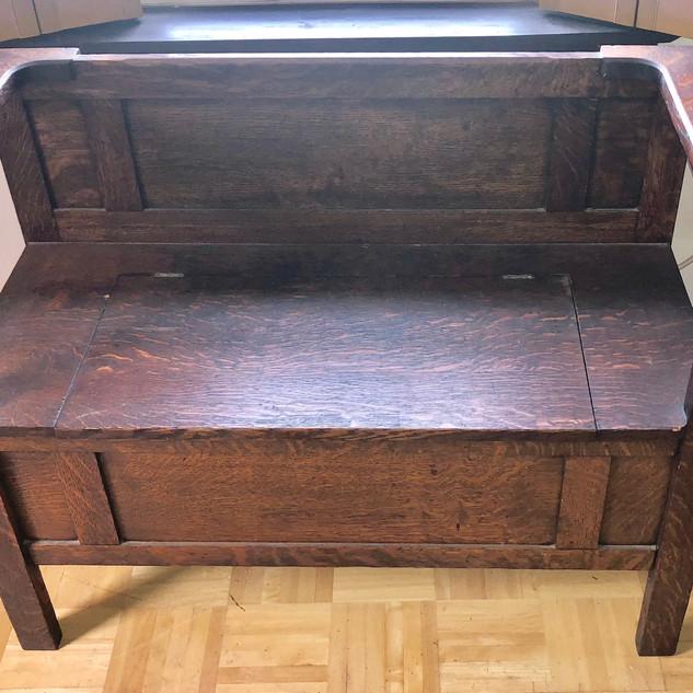Solid oak lift top bench