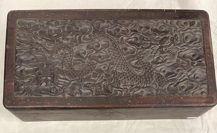 Antique Carved Box w Dragons