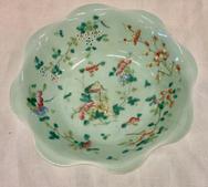Painted Celedon Antique Bowl