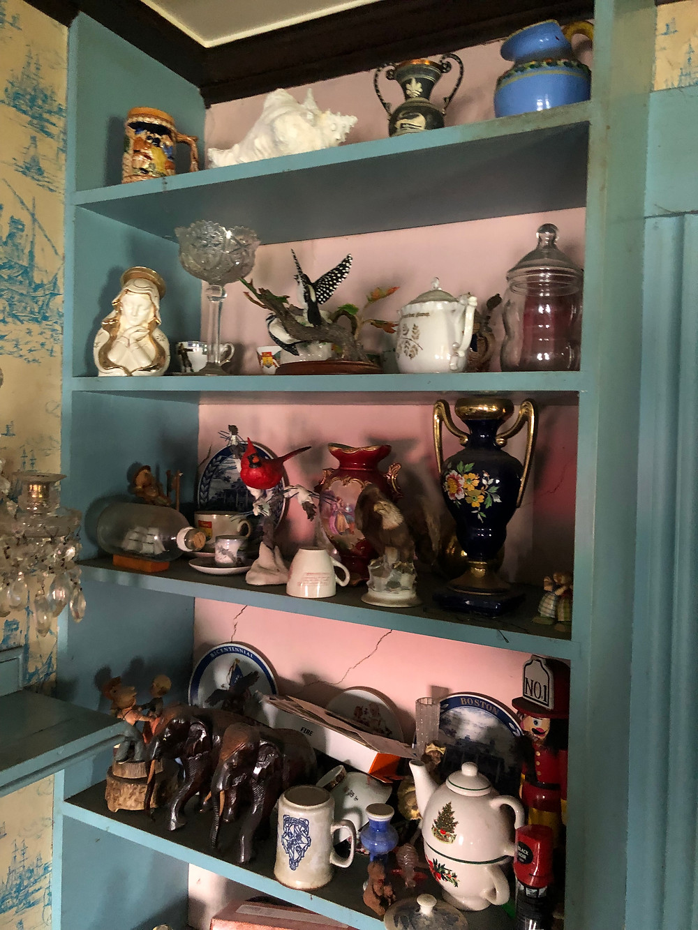 shelf of antiques