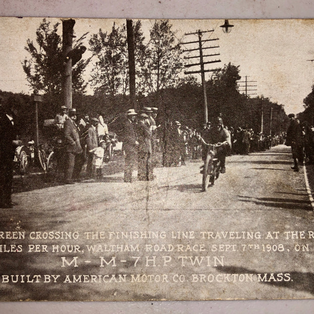 1908 Motorcycle Race G.M. Green Crossing Finish Line