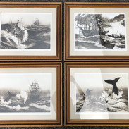 4 Awesome Whaling Scenes artist signed