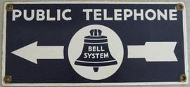 Antique enamel Bell Phone sign