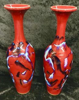 Pair of Antique Oxblood Vases
