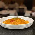 Italian Capellini (angle hair pasta) with prawns and slightly spicy tomato cream