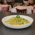 Basil Cream Linguini with mixed seasonal vegetables and mushrooms