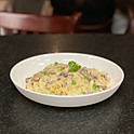 Creamy Carbonara Fettuccini with pancetta and peas