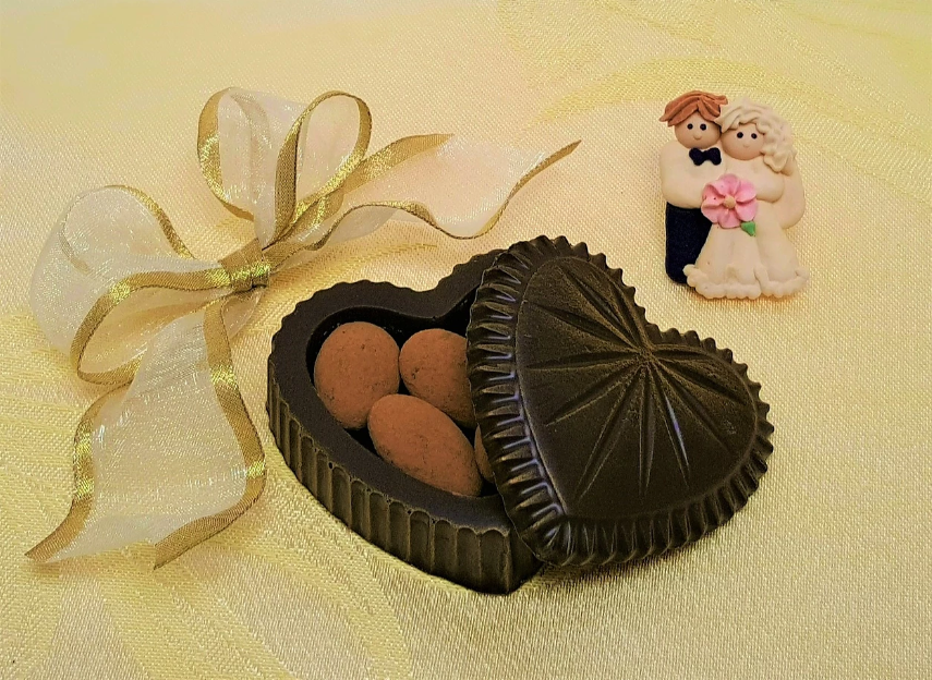 Chocolate Heart Shaped Box w/Almonds