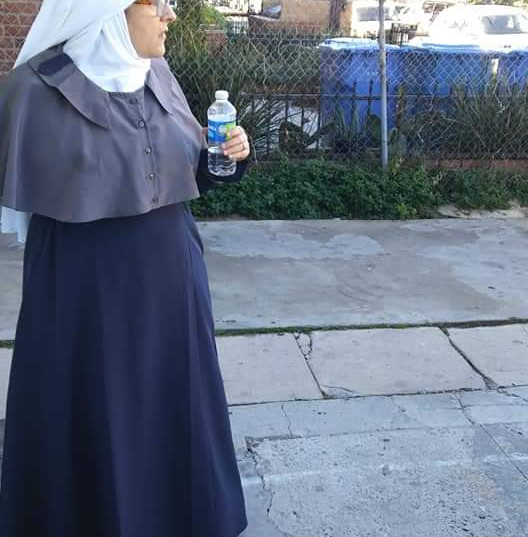 Sister Sophia enjoying a water