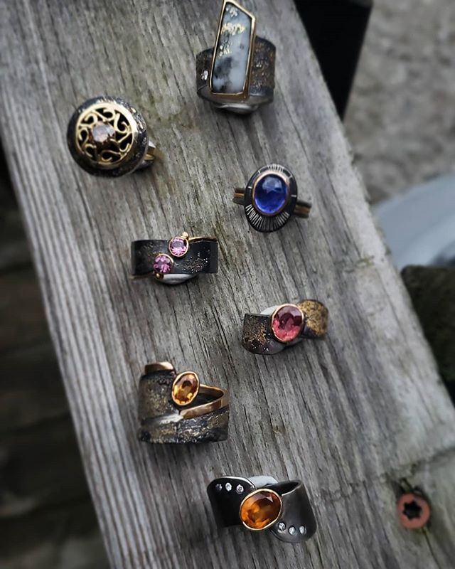 lineup of mixed metal MHJ rings
