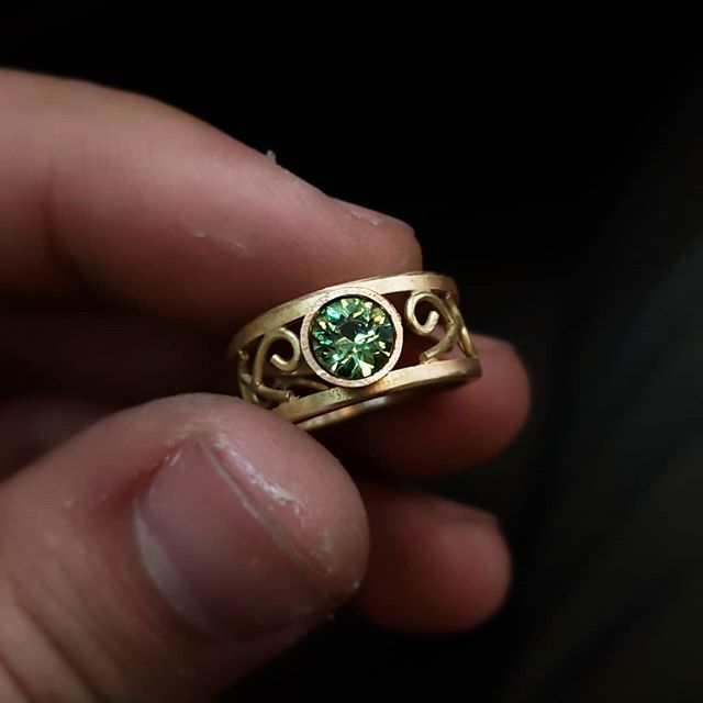 progress on an 18k and demantoid engagement ring