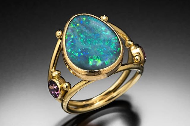 Australian opal and garnets in 18k gold