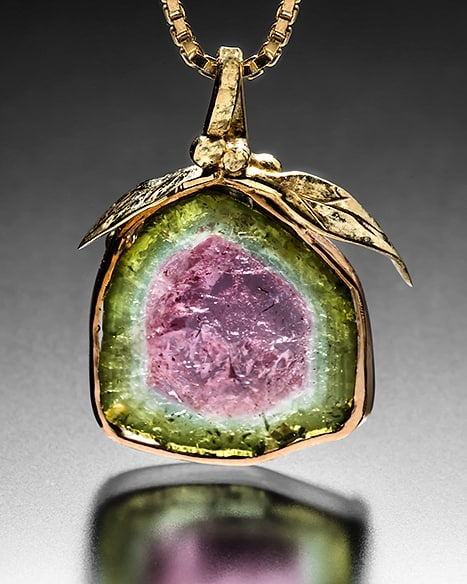watermelon tourmaline in 22k and 18k gold