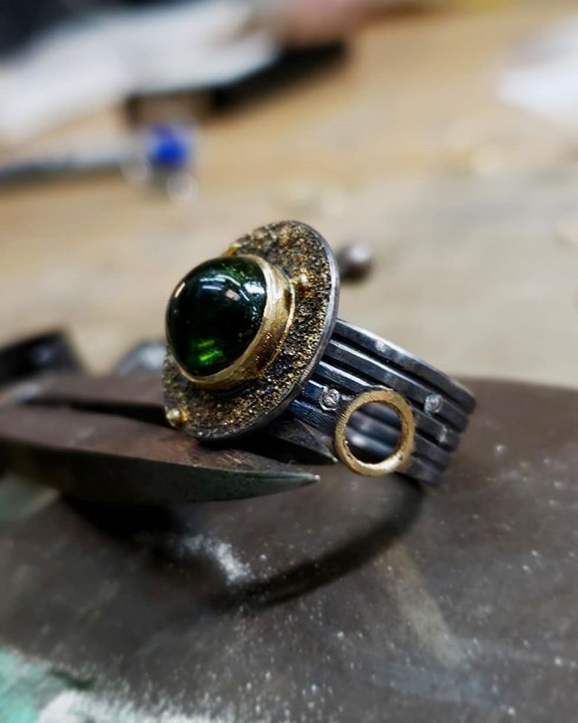 Green tourmaline and mixed metals