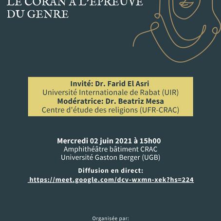 """Conférence : """"Le Coran à l'épreuve du genre"""""""