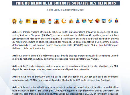 PRIX DU MÉMOIRE EN SCIENCES SOCIALES DES RELIGIONS
