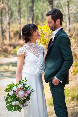 Robe de mariée bohème et romantique, top en tulle brodé de feuilles, Anne-Laure Neves