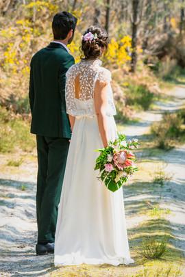 Robe de mariée avec dentelle feuilles, créations unique Anne-Laure Neves Bordeaux