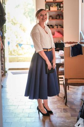 Jupe de mariée taille haute longueur midi pour une mariage civil, créée par Anne-Laure Neves