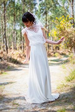 Robe de mariée légère romantique Anne-Laure Neves créatrice à Bordeaux