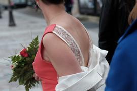 Robe de mariée civile, de couleur, dos V en dentelle, Anne-Laure Neves