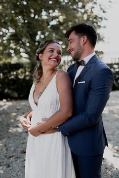 Robe de mariée drapée créatrice Anne-Laure Neves