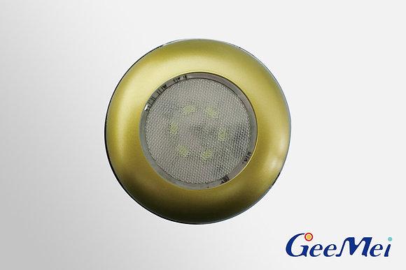 """RV 3"""" LED Ceiling Light Round Light w/o switch, 12V, 6 LEDs - Gold"""