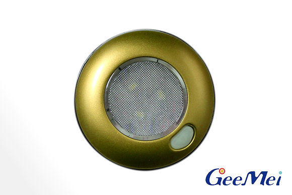 """RV 3"""" Qty 3 LED Ceiling Light Round Light with switch - Gold"""