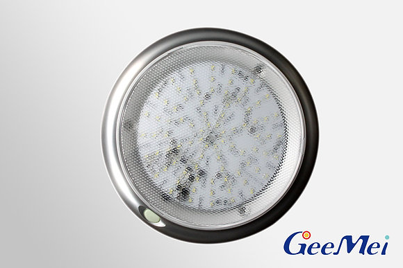"""RV 8"""" LED Round Light Dual mode - Silver - Clear"""