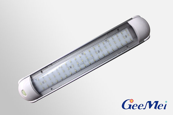 RV Oblong LED Fluorescent Light with switch - 60 LEDs - White - Clear