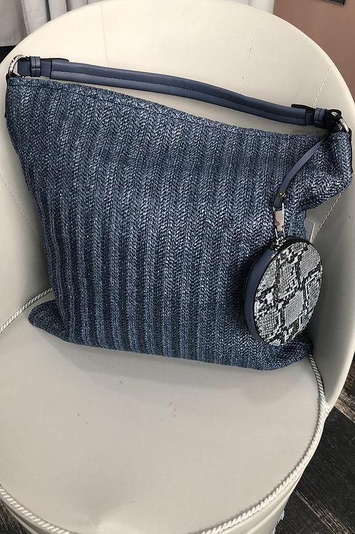 Bolso rafia azul marino monedero print