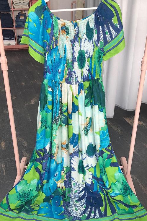 Vestido mujer estampado azules y verdes t. M y L