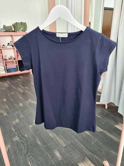 Camiseta azul marino manga corta cuello redondo