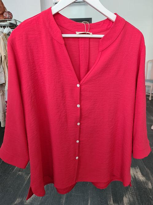 Blusa botones coral rojo