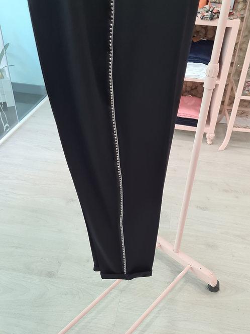 Pantalón cintura elástica  negra pasamanería lateral