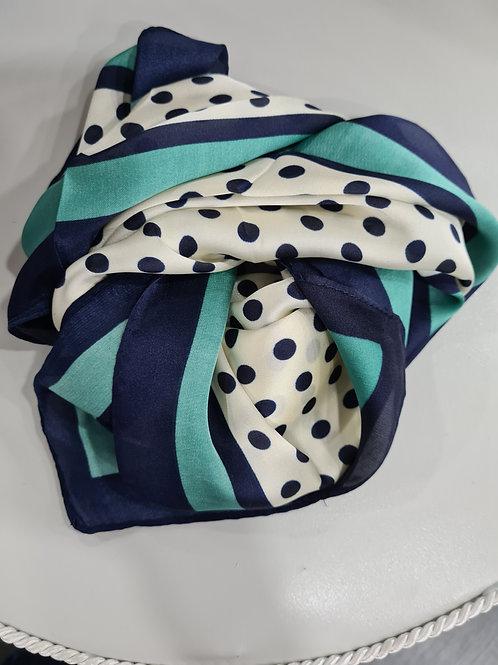Pañuelo topos azul , verde y beige