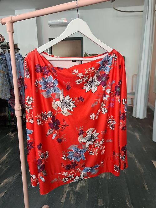Blusa floreada roja