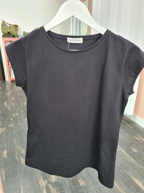 Camiseta manga corta negra cuello redondo