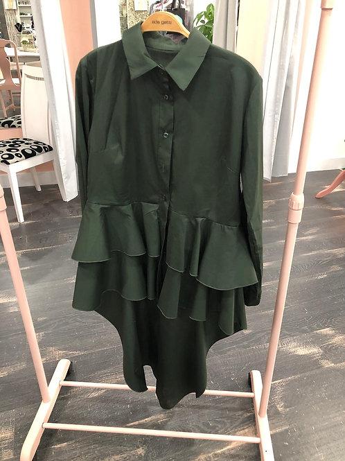 Camisa verde largo volante atrás