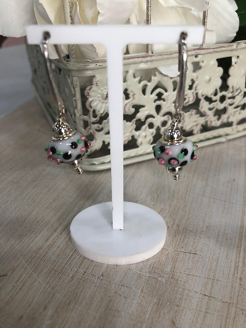 Pendiente plata cristal de murano