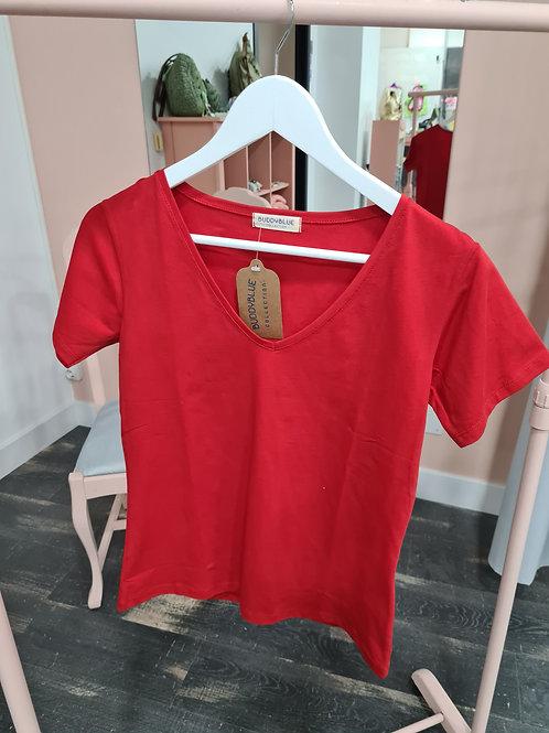 Camiseta roja manga corta cuello pico